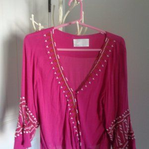 PIPER Embroidered Top Hot Pink Gorgeous Medium EUC